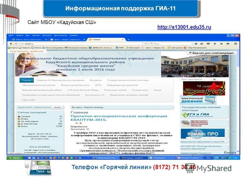 Информационная поддержка ГИА-11 43 Телефон «Горячей линии» (8172) 71 36 46 http://s13001.edu35.ruhttp://s13001.edu35. ru Сайт МБОУ «Кадуйская СШ»
