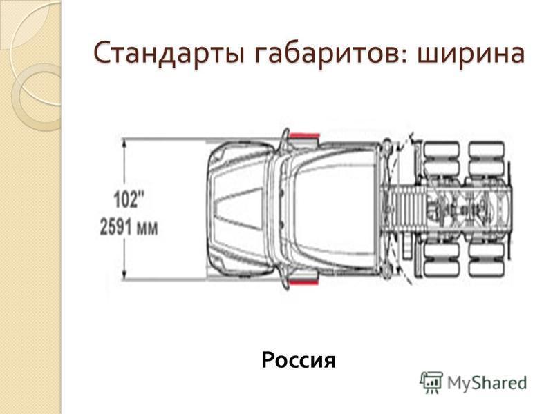 Стандарты габаритов : ширина Россия