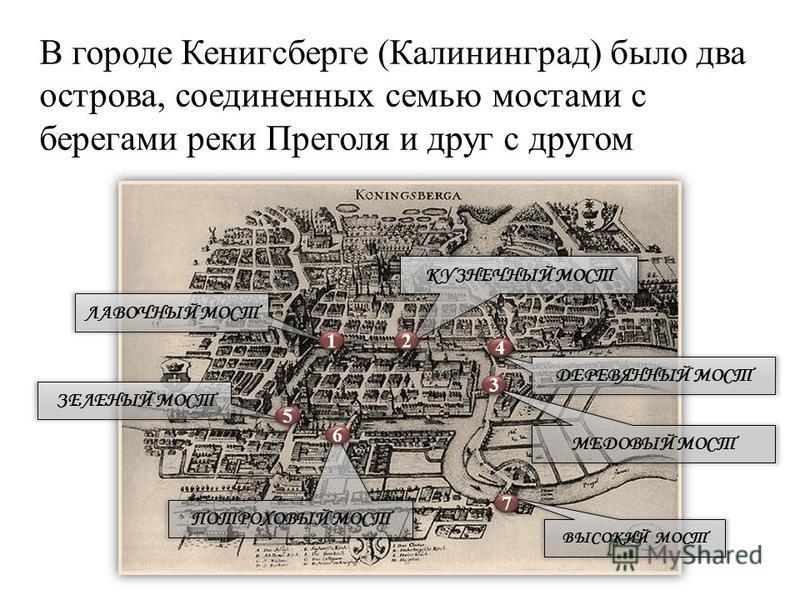 В городе Кенигсберге (Калининград) было два острова, соединенных семью мостами с берегами реки Преголя и друг с другом ЛАВОЧНЫЙ МОСТ ЗЕЛЕНЫЙ МОСТ КУЗНЕЧНЫЙ МОСТ ДЕРЕВЯННЫЙ МОСТ МЕДОВЫЙ МОСТ ПОТРОХОВЫЙ МОСТ ВЫСОКИЙ МОСТ 1 1 2 2 3 3 4 4 5 5 6 6 7 7