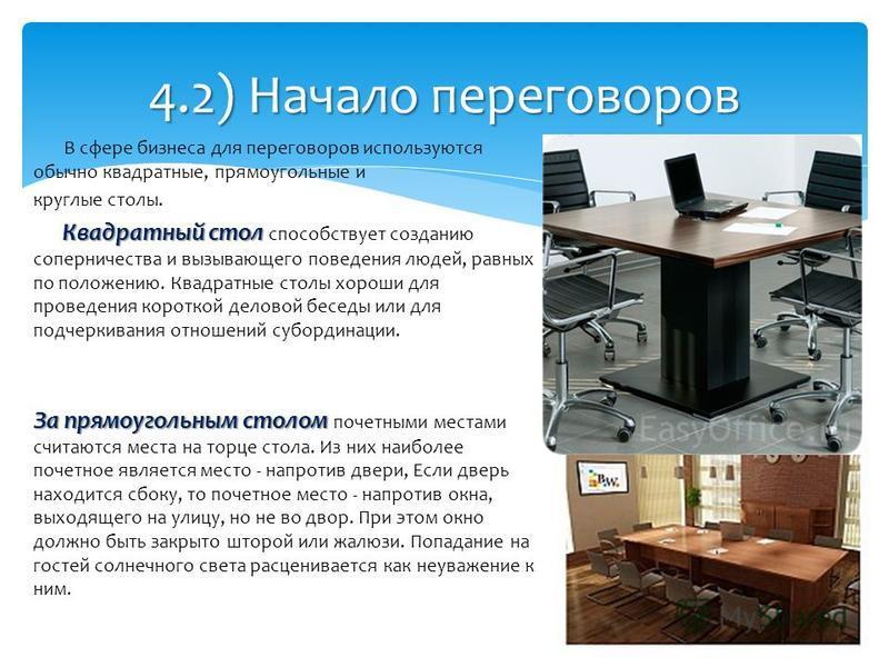 В сфере бизнеса для переговоров используются обычно квадратные, прямоугольные и круглые столы. Квадратный стол Квадратный стол способствует созданию соперничества и вызывающего поведения людей, равных по положению. Квадратные столы хороши для проведе