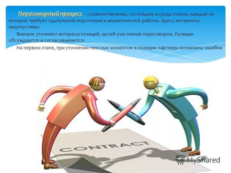 Переговорный процесс Переговорный процесс – сложное явление, состоящее из ряда этапов, каждый из которых требует тщательной подготовки и аналитической работы. Здесь экспромты недопустимы. Вначале уточняют интересы позиций, целей участников переговоро