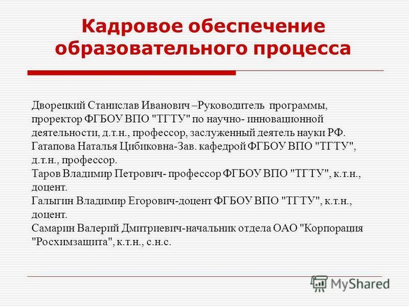 Кадровое обеспечение образовательного процесса Дворецкий Станислав Иванович –Руководитель программы, проректор ФГБОУ ВПО