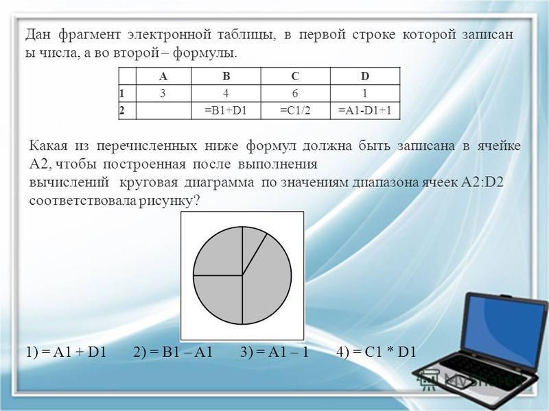 Дан фрагмент электронной таблицы, в первой строке которой записан ы числа, а во второй – формулы. ABCD 13461 2 =B1+D1=C1/2=A1-D1+1 Какая из перечисленных ниже формул должна быть записана в ячейке A2, чтобы построенная после выполнения вычислений круг
