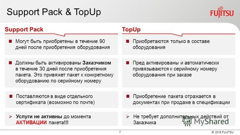 © 2015 FUJITSU 7 Support Pack & TopUp Могут быть приобретены в течение 90 дней после приобретения оборудования Приобретаются только в составе оборудования Должны быть активированы Заказчиком в течение 30 дней после приобретения пакета. Это привяжет п