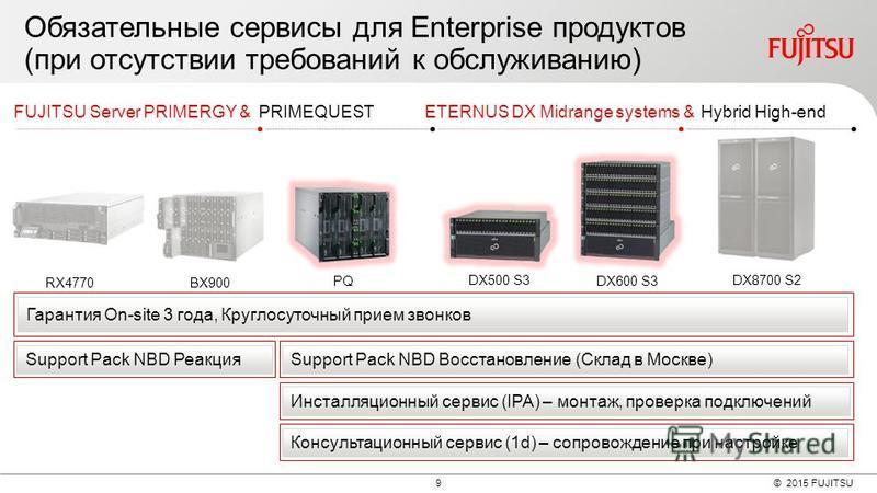 © 2015 FUJITSU 9 Обязательные сервисы для Enterprise продуктов (при отсутствии требований к обслуживанию) DX500 S3 DX600 S3 DX8700 S2 ETERNUS DX Midrange systems &Hybrid High-end BX900RX4770 PQ FUJITSU Server PRIMERGY &PRIMEQUEST Гарантия On-site 3 г