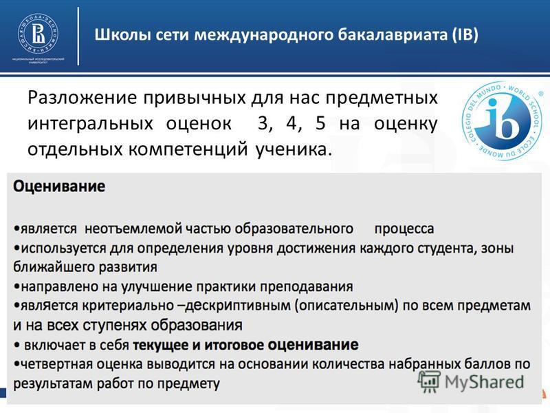 Высшая школа экономики, Москва, 2015 Школы сети международного бакалавриата (IB) Разложение привычных для нас предметных интегральных оценок 3, 4, 5 на оценку отдельных компетенций ученика.
