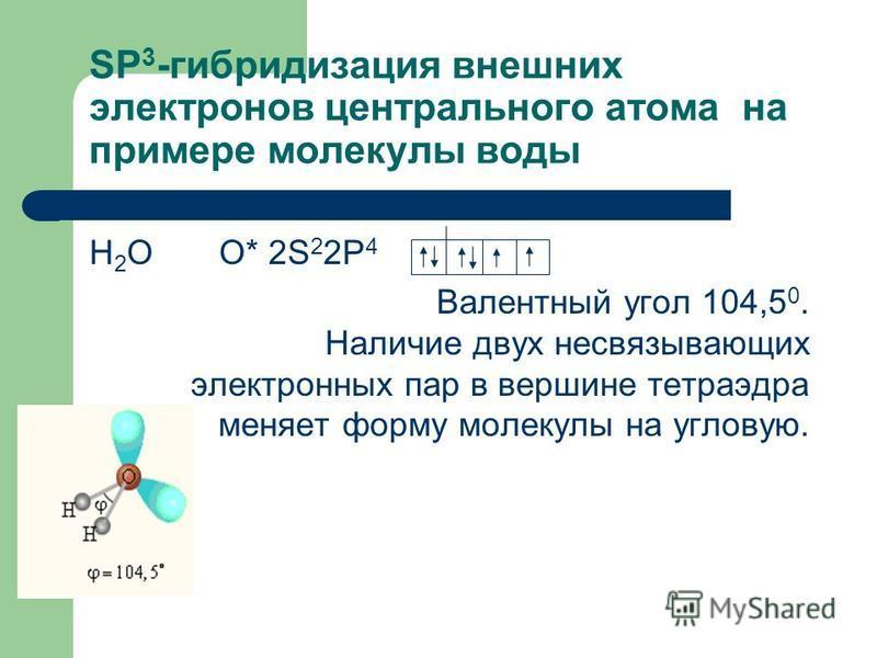 SP 3 -гибридизация внешних электронов центрального атома на примере молекулы воды Н 2 О О* 2S 2 2P 4 Валентный угол 104,5 0. Наличие двух не связывающих электронных пар в вершине тетраэдра меняет форму молекулы на угловую.