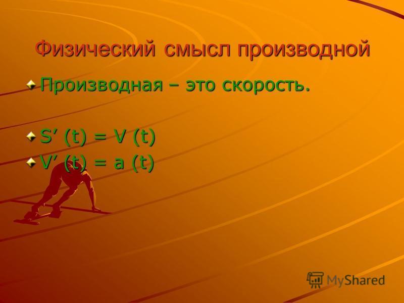 Физический смысл производной Производная – это скорость. S (t) = V (t) V (t) = a (t)