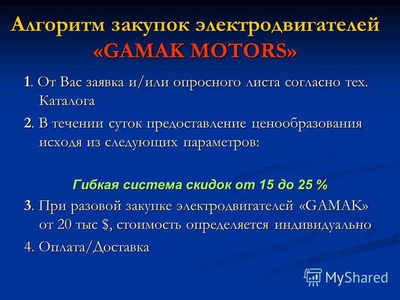 Алгоритм закупок электродвигателей «GAMAK MOTORS» 1. От Вас заявка и/или опросного листа согласно тех. Каталога 2. В течении суток предоставление ценообразования исходя из следующих параметров: Гибкая система скидок от 15 до 25 % 3. При разовой закуп