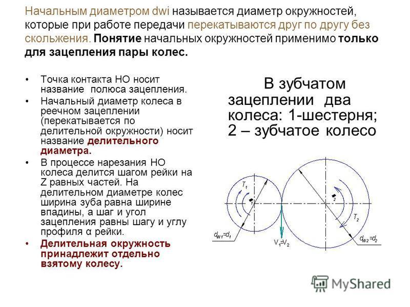 Начальным диаметром dwi называется диаметр окружностей, которые при работе передачи перекатываются друг по другу без скольжения. Понятие начальных окружностей применимо только для зацепления пары колес. Точка контакта НО носит название полюса зацепле