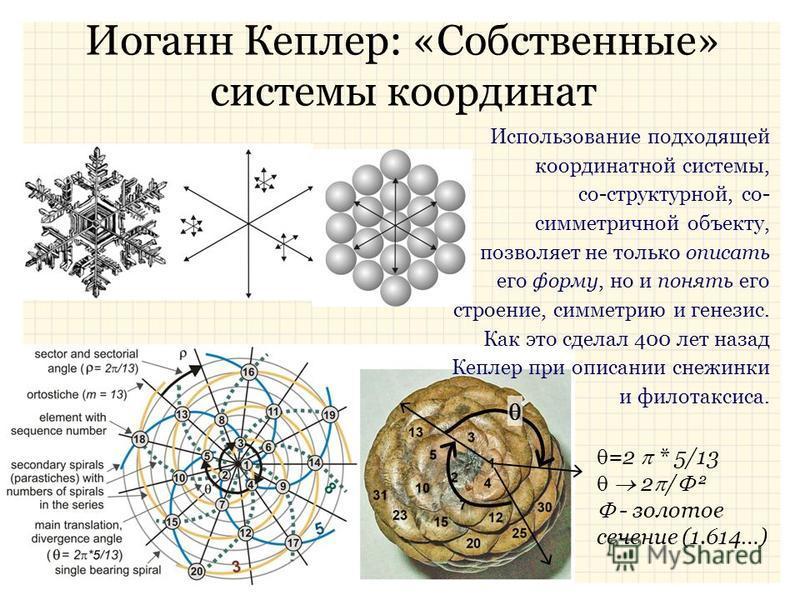 Иоганн Кеплер: «Собственные» системы координат =2 * 5/13 2 / 2 - золотое сечение (1.614…) Использование подходящей координатной системы, со-структурной, со- симметричной объекту, позволяет не только описать его форму, но и понять его строение, симмет