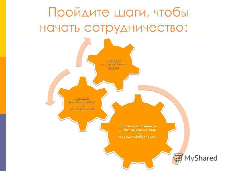 Отправить заполненную Анкету автора на нашу почту megawork,kz@yandex,ru Скачать Договор-оферту о сотрудничестве Скачать и заполнить Анкету автора Пройдите шаги, чтобы начать сотрудничество: