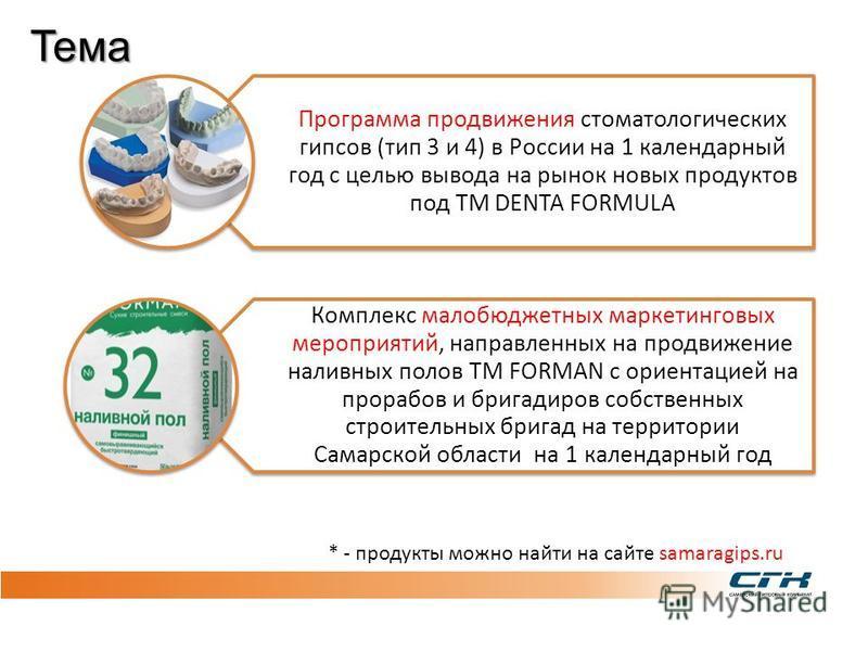 СЛАЙД 3 Программа продвижения стоматологических гипсов (тип 3 и 4) в России на 1 календарный год с целью вывода на рынок новых продуктов под ТМ DENTA FORMULA Комплекс малобюджетных маркетинговых мероприятий, направленных на продвижение наливных полов