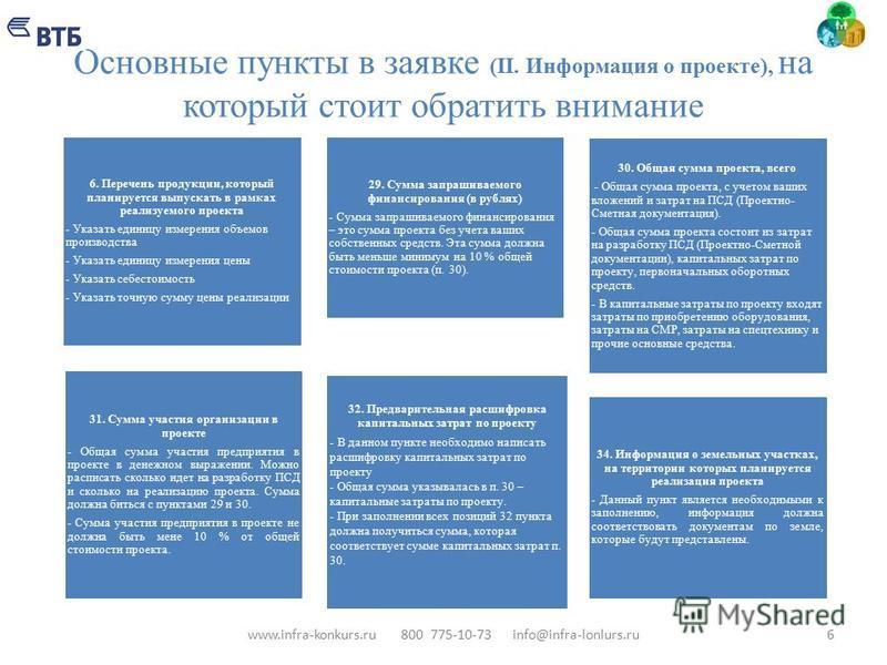 Основные пункты в заявке (II. Информация о проекте), на который стоит обратить внимание 6 6. Перечень продукции, который планируется выпускать в рамках реализуемого проекта - Указать единицу измерения объемов производства - Указать единицу измерения