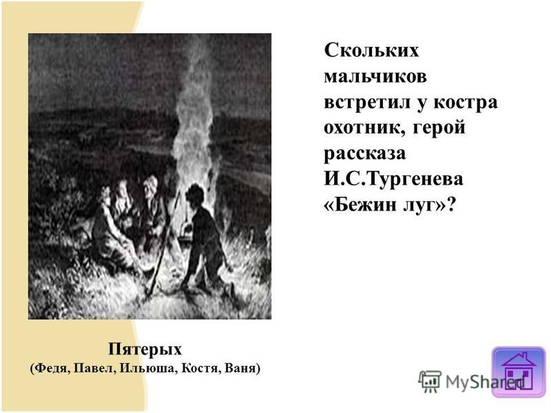 Скольких мальчиков встретил у костра охотник, герой рассказа И.С.Тургенева «Бежин луг»? Пятерых (Федя, Павел, Ильюша, Костя, Ваня)