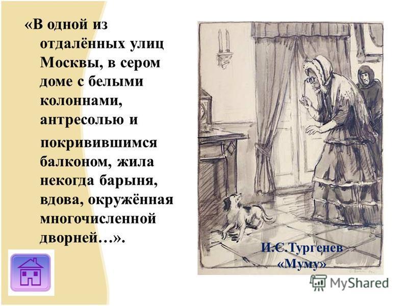 «В одной из отдалённых улиц Москвы, в сером доме с белыми колоннами, антресолью и покривившимся балконом, жила некогда барыня, вдова, окружённая многочисленной дворней…». И.С.Тургенев «Муму»