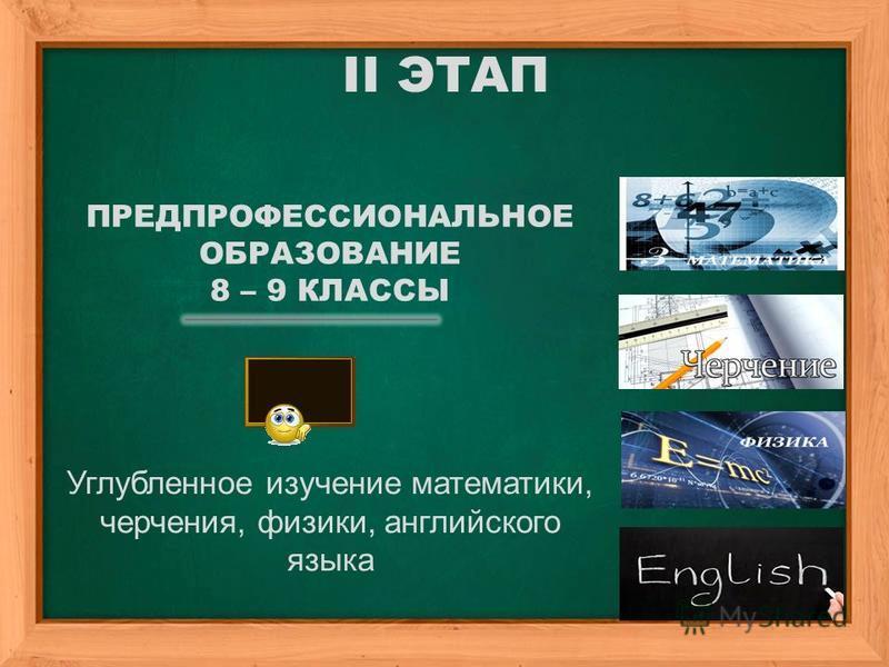 II ЭТАП ПРЕДПРОФЕССИОНАЛЬНОЕ ОБРАЗОВАНИЕ 8 – 9 КЛАССЫ Углубленное изучение математики, черчения, физики, английского языка