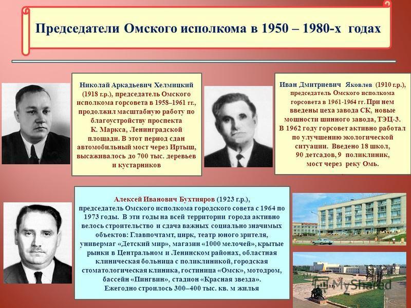 Председатели Омского исполкома в 1950 – 1980-х годах Николай Аркадьевич Хелмицкий (1918 г.р.), председатель Омского исполкома горсовета в 1958–1961 гг., продолжил масштабную работу по благоустройству проспекта К. Маркса, Ленинградской площади. В этот