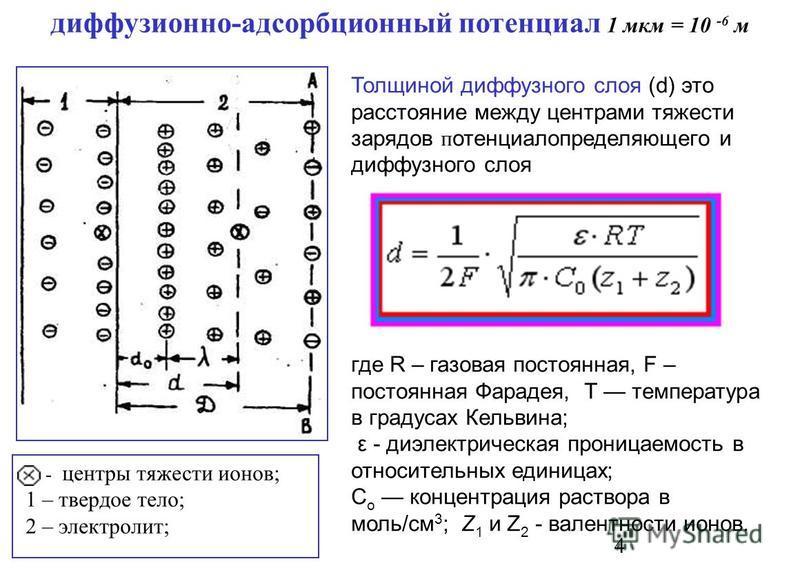 4 Толщиной диффузного слоя (d) это расстояние между центрами тяжести зарядов потенциал определяющего и диффузного слоя - центры тяжести ионов; 1 – твердое тело; 2 – электролит; где R – газовая постоянная, F – постоянная Фарадея, Т температура в граду