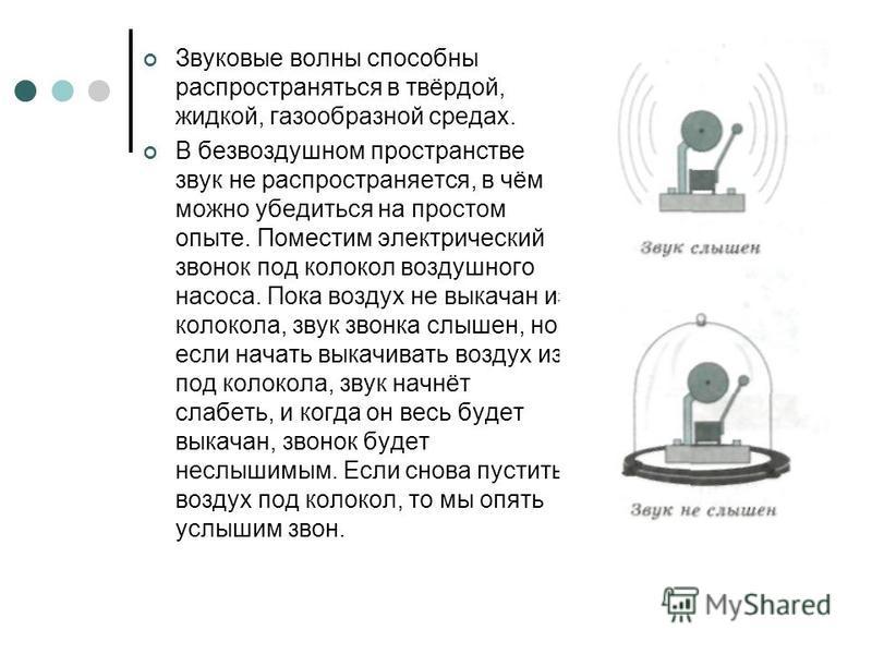 Звуковые волны способны распространяться в твёрдой, жидкой, газообразной средах. В безвоздушном пространстве звук не распространяется, в чём можно убедиться на простом опыте. Поместим электрический звонок под колокол воздушного насоса. Пока воздух не