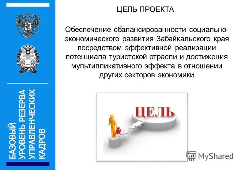 ЦЕЛЬ ПРОЕКТА Обеспечение сбалансированности социально- экономического развития Забайкальского края посредством эффективной реализации потенциала туристской отрасли и достижения мультипликативного эффекта в отношении других секторов экономики