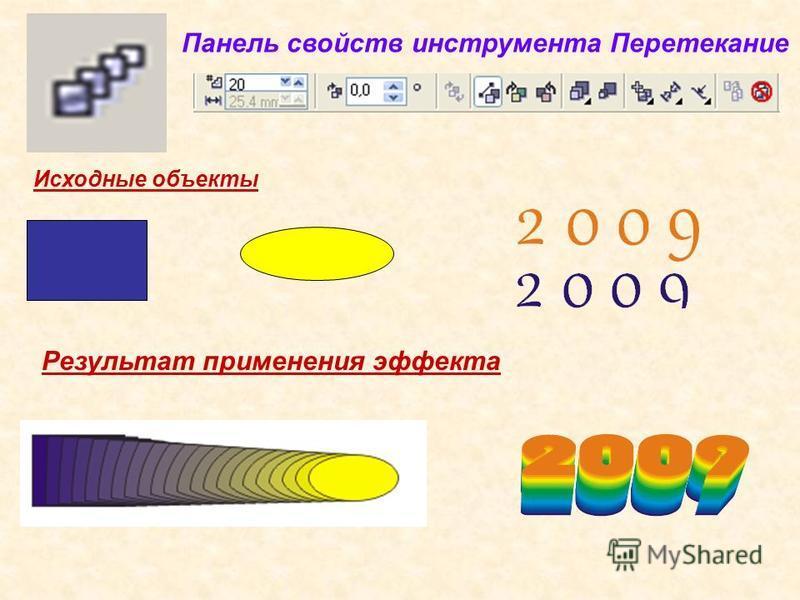 Панель свойств инструмента Перетекание Исходные объекты Результат применения эффекта