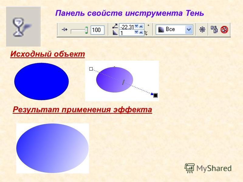 Исходный объект Результат применения эффекта Панель свойств инструмента Тень