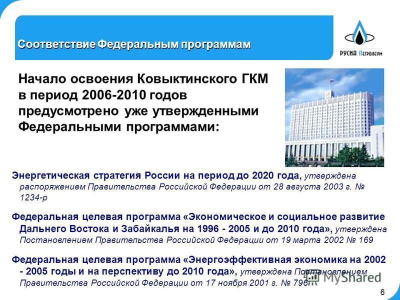 6 Энергетическая стратегия России на период до 2020 года, утверждена распоряжением Правительства Российской Федерации от 28 августа 2003 г. 1234-р Федеральная целевая программа «Экономическое и социальное развитие Дальнего Востока и Забайкалья на 199