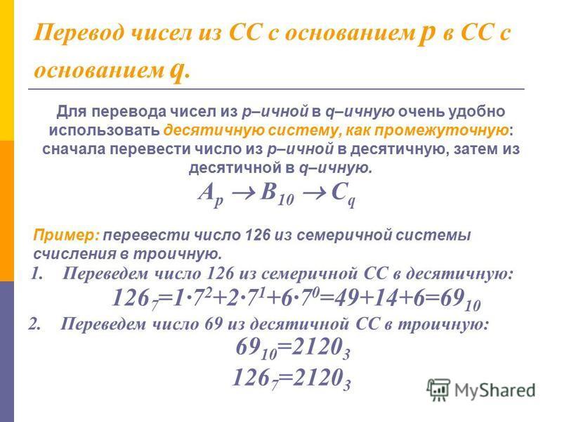 Перевод дробных и смешанных чисел. а). из 2-ной в 10-ную СС: 1001,01 2 = 1·2 0 +0·2 1 +0·2 2 +1·2 3 +0·2 -1 +1·2 -2 =1 + 8 + 1/4 = 9,25 10 б). из 10-ной в 2-ную СС: Перевод чисел, содержащих целую и дробную часть, осуществляется в два этапа. Отдельно