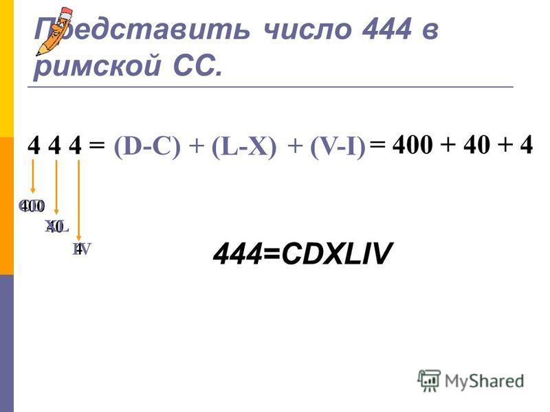 Римская (500 лет до н.э.) Цифры: Эта римская древняя табличка написана 2000 лет назад IVXLCDM 1510501005001000 Число обозначается набором подряд стоящих «цифр» Значение числа равно: 1). Сумме значений идущих подряд нескольких одинаковых «цифр»: ХХ=20