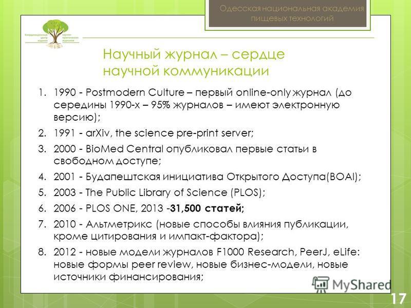 2 17 Одесская национальная академия пищевых технологий 1.1990 - Postmodern Culture – первый online-only журнал (до середины 1990-х – 95% журналов – имеют электронную версию); 2.1991 - arXiv, the science pre-print server; 3.2000 - BioMed Central опубл