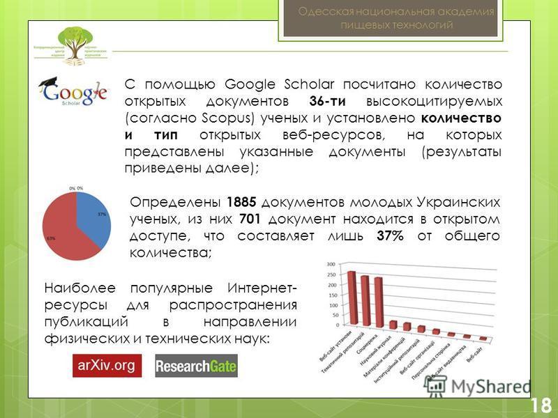 2 18 Одесская национальная академия пищевых технологий Определены 1885 документов молодых Украинских ученых, из них 701 документ находится в открытом доступе, что составляет лишь 37% от общего количества; С помощью Google Scholar посчитано количество