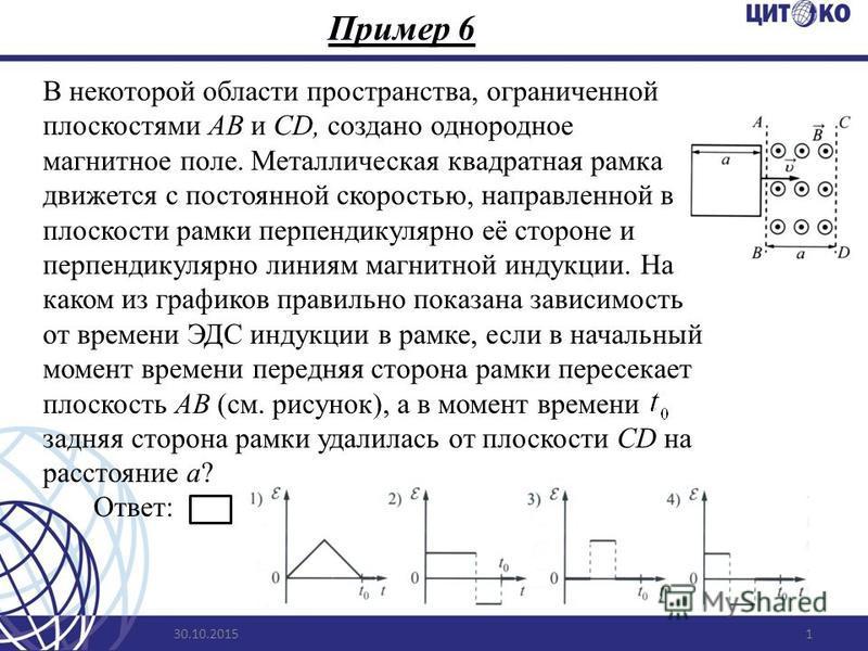 Пример 6 30.10.20151 В некоторой области пространства, ограниченной плоскостями АВ и CD, создано однородное магнитное поле. Металлическая квадратная рамка движется с постоянной скоростью, направленной в плоскости рамки перпендикулярно её стороне и пе