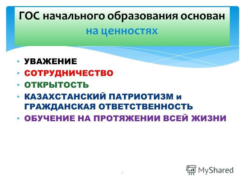 7 УВАЖЕНИЕ СОТРУДНИЧЕСТВО ОТКРЫТОСТЬ КАЗАХСТАНСКИЙ ПАТРИОТИЗМ и ГРАЖДАНСКАЯ ОТВЕТСТВЕННОСТЬ ОБУЧЕНИЕ НА ПРОТЯЖЕНИИ ВСЕЙ ЖИЗНИ ГОС начального образования основан на ценностях