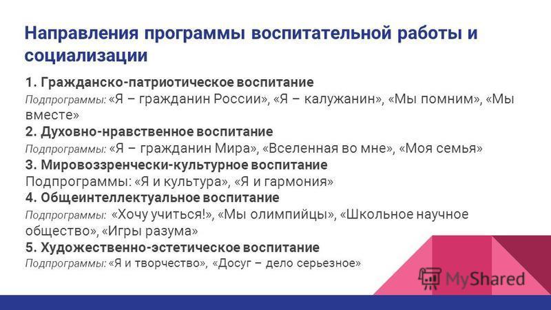 Направления программы воспитательной работы и социализации 1. Гражданско-патриотическое воспитание Подпрограммы: «Я – гражданин России», «Я – калужанин», «Мы помним», «Мы вместе» 2. Духовно-нравственное воспитание Подпрограммы: «Я – гражданин Мира»,