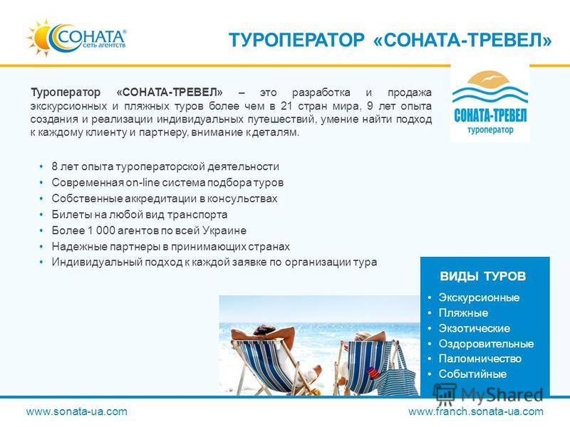 www.sonata-ua.com www.franch.sonata-ua.com ТУРОПЕРАТОР «СОНАТА-ТРЕВЕЛ» Туроператор «СОНАТА-ТРЕВЕЛ» – это разработка и продажа экскурсионных и пляжных туров более чем в 21 стран мира, 9 лет опыта создания и реализации индивидуальных путешествий, умени