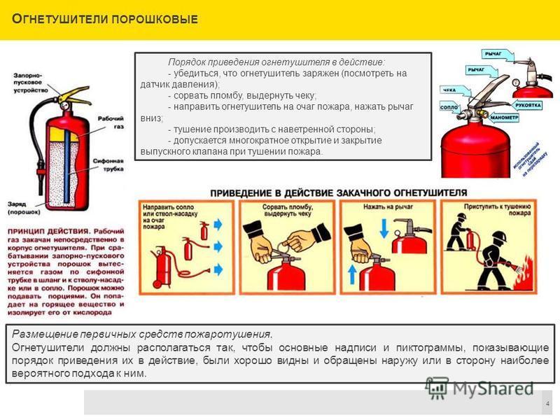 О ГНЕТУШИТЕЛИ ПОРОШКОВЫЕ 4 Порядок приведения огнетушителя в действие: - убедиться, что огнетушитель заряжен (посмотреть на датчик давления); - сорвать пломбу, выдернуть чеку; - направить огнетушитель на очаг пожара, нажать рычаг вниз; - тушение прои