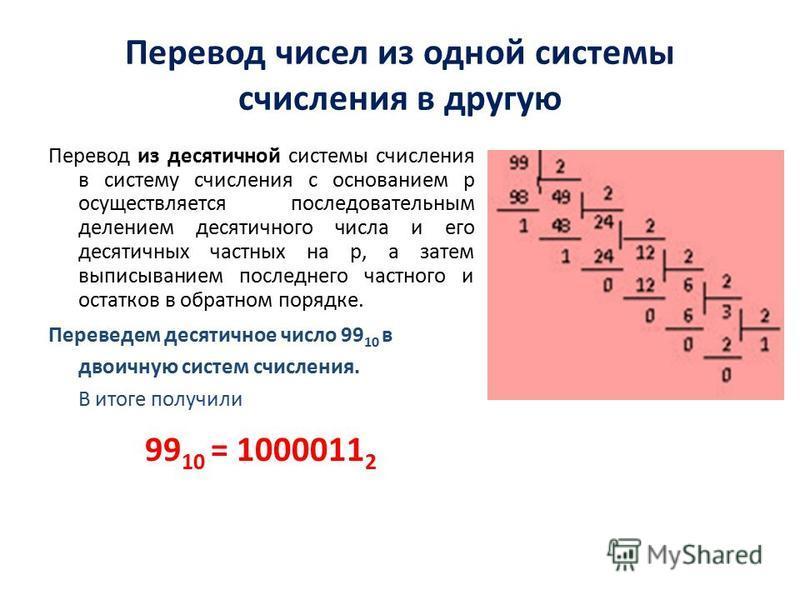 Перевод чисел из одной системы счисления в другую Перевод из десятичной системы счисления в систему счисления с основанием p осуществляется последовательным делением десятичного числа и его десятичных частных на p, а затем выписыванием последнего час