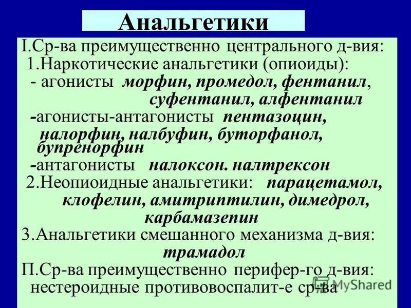 Анальгетики I.Ср-ва преимущественно центрального д-вия: 1. Наркотические анальгетики (опиоиды): - агонисты морфин, промедол, фентанил, суфентанил, алфентанил -агонисты-антагонисты пентазоцин, налорфин, нальбуфин, буторфанол, бупренорфин -антагонисты
