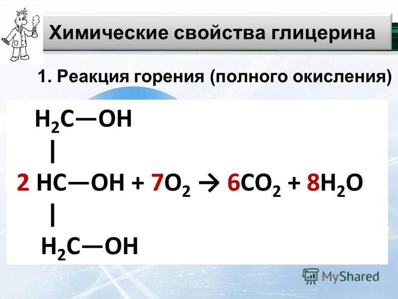 Химические свойства глицерина 1. Реакция горения (полного окисления) H 2 СOH | 2 HCOH + 7О 2 6СО 2 + 8H 2 O | H 2 COH