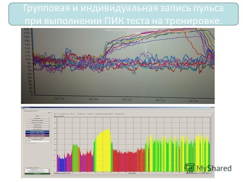 Групповая и индивидуальная запись пульса при выполнении ПИК теста на тренировке.