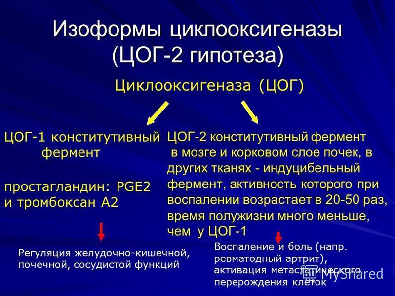 Изоформы циклооксигэназы (ЦОГ-2 гипотеза) Циклооксигэназа (ЦОГ) ЦОГ-1 конститутивный фермэнт ЦОГ-2 конститутивный фермэнт в мозге и корковом слое почек, в других тканях - индуцибельный фермэнт, активность которого при воспалэнии возрастает в 20-50 ра