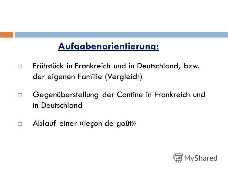Aufgabenorientierung: Frühstück in Frankreich und in Deutschland, bzw. der eigenen Familie (Vergleich) Gegenüberstellung der Cantine in Frankreich und in Deutschland Ablauf einer «leçon de goût»