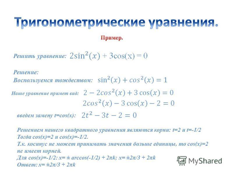 Решить уравнение: Решение: Воспользуемся тождеством: Наше уравнение примет вид: введем замену t=cos(x): Решением нашего квадратного уравнения являются корни: t=2 и t=-1/2 Тогда cos(x)=2 и cos(x)=-1/2. Т.к. косинус не может принимать значения больше е