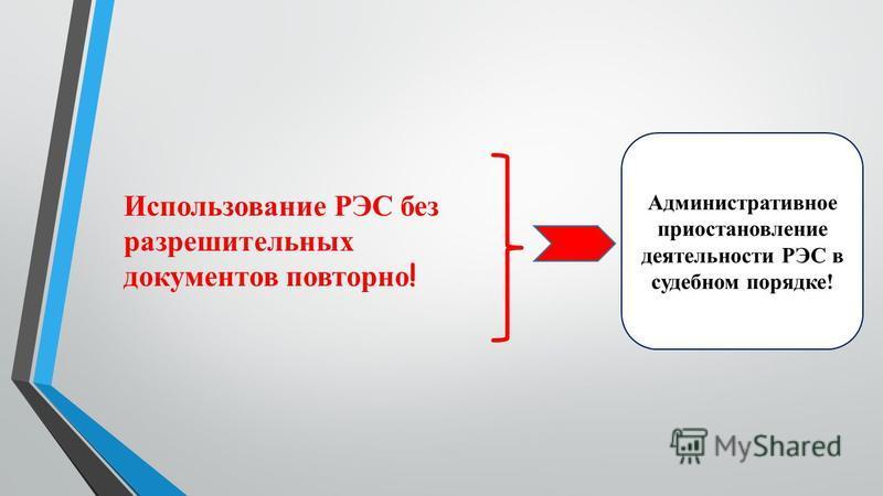 Использование РЭС без разрешительных документов повторно ! Административное приостановление деятельности РЭС в судебном порядке!