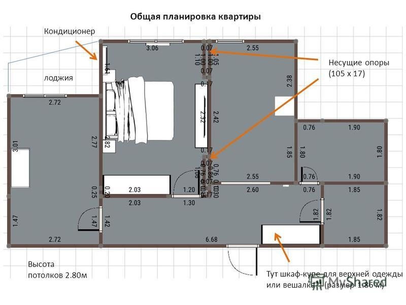 Общая планировка квартиры Несущие опоры (105 х 17) Тут шкаф-купе для верхней одежды или вешалка?! (размер 1.86 м) Высота потолков 2.80 м Кондиционер лоджия