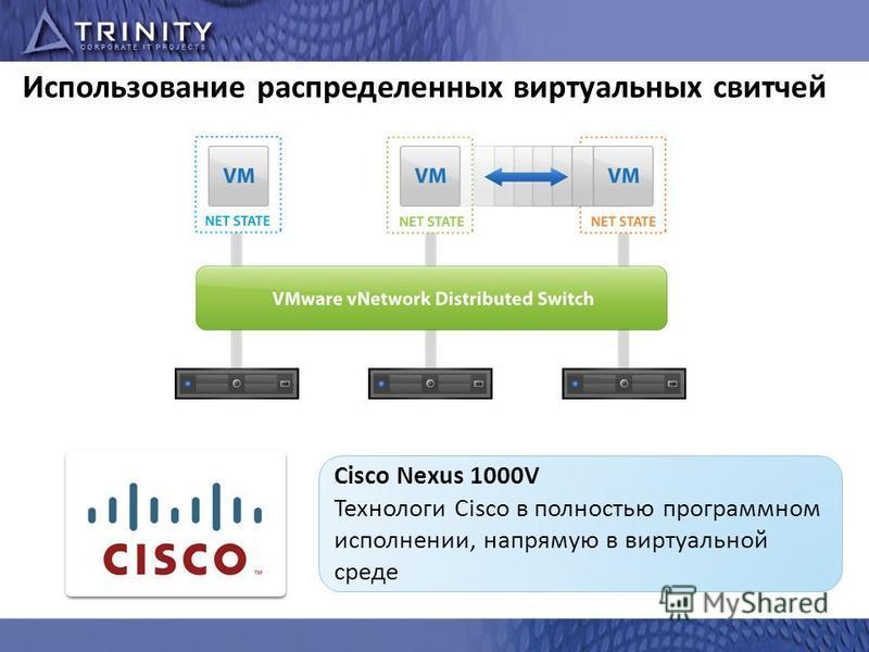 Использование распределенных виртуальных свитчей Cisco Nexus 1000V Технологи Cisco в полностью программном исполнении, напрямую в виртуальной среде