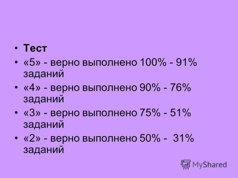 Тест «5» - верно выполнено 100% - 91% заданий «4» - верно выполнено 90% - 76% заданий «3» - верно выполнено 75% - 51% заданий «2» - верно выполнено 50% - 31% заданий