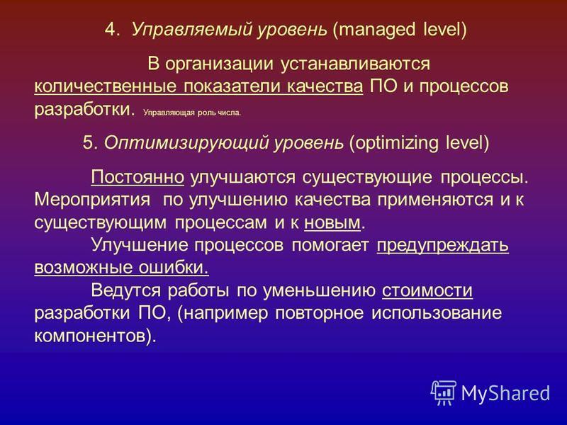 4. Управляемый уровень (managed level) В организации устанавливаются количественные показатели качества ПО и процессов разработки. Управляющая роль числа. 5. Оптимизирующий уровень (optimizing level) Постоянно улучшаются существующие процессы. Меропр