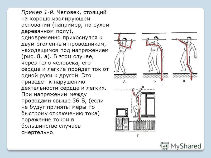 Пример 1-й. Человек, стоящий на хорошо изолирующем основании (например, на сухом деревянном полу), одновременно прикоснулся к двум оголенным проводникам, находящимся под напряжением (рис. 8, а). В этом случае, через тело человека, его сердце и легкие